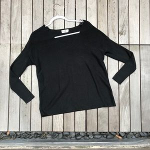 SEEK Black V Neck Ribbed Knit Long Sleeve Sweater